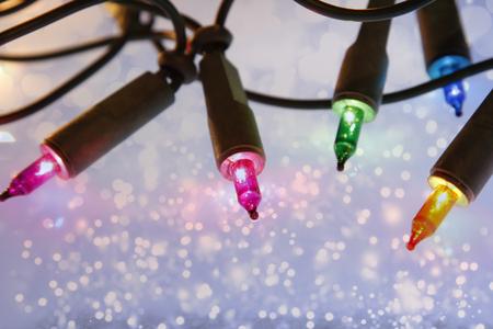 colourful lightings: Closeup of Christmas lights glowing
