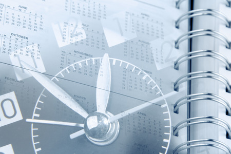 diaries: Clock face and diary calendar