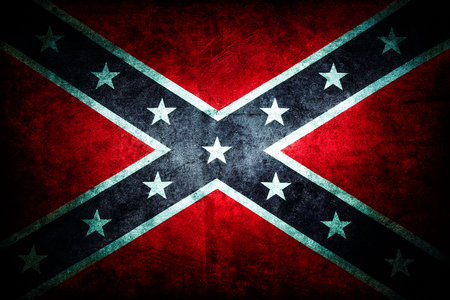 old photograph: Closeup of grungy Confederate flag