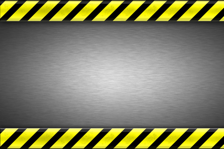 titanium: Construction borders on brushed steel background