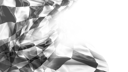 Checkered black and white racing flag. Copy space Stock Photo