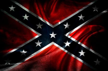 Closeup of grunge silky Confederate flag