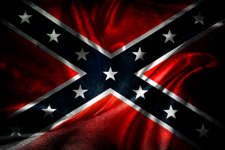 Primer plano de la bandera confederada sedosa del grunge Foto de archivo