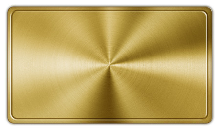 brushed: Shiny rectangle golden button on white