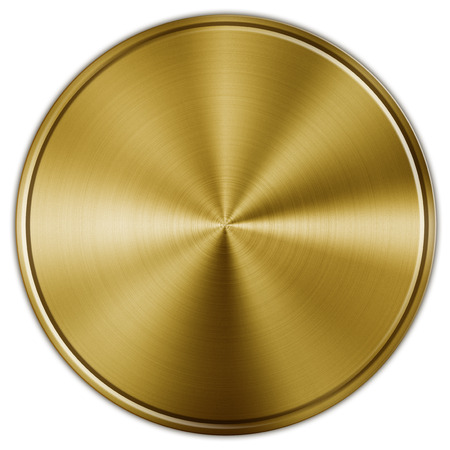 brushed: Shiny circular golden metal button on white Stock Photo
