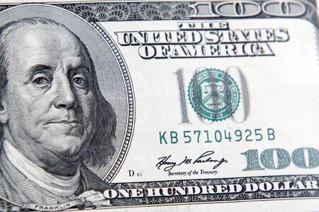 Benjamin Franklin on one hundred dollar banknote closeup