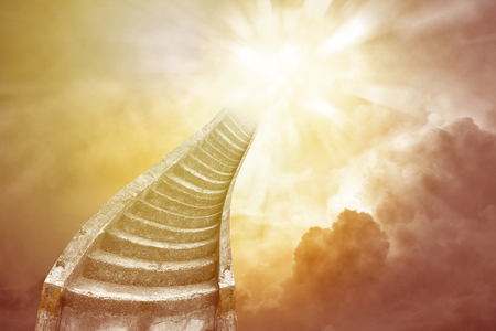 Stairway leading up to bright sky. Stairway to heaven