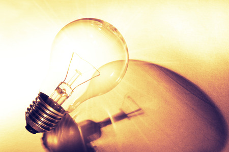 Tungsten light bulb and shadow