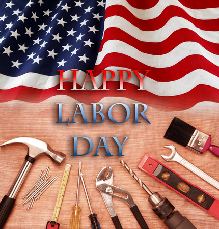 American flag and tools. Happy Labor Day Stock Photo