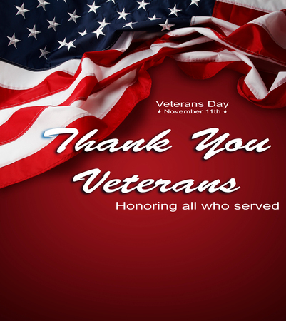 American flag on red. Veterans Day Foto de archivo - 105682445