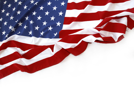 Closeup of American flag on white background Фото со стока