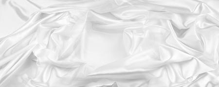 Closeup of rippled white silk fabric Stock fotó