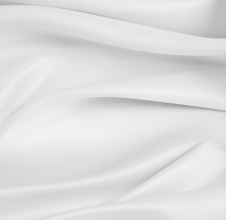 Closeup of rippled white silk fabric Archivio Fotografico