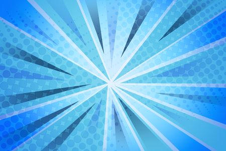 Halftone pattern and blue striped rays background