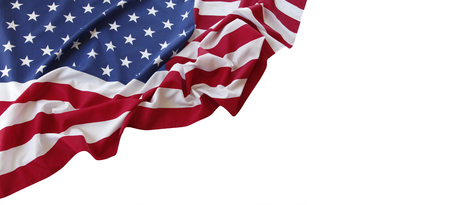 Closeup of American flag on white background 版權商用圖片