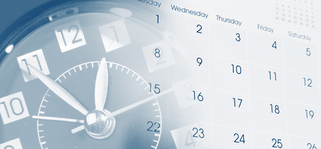 Clock face and calendar composite 版權商用圖片