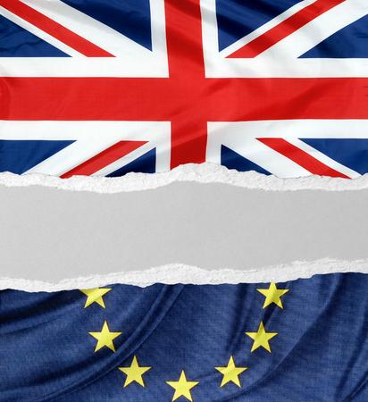 British and European Union flags torn apart. Brexit idea