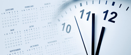 Clock face and calendar composite Banco de Imagens