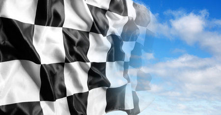 Checkered flag and blue sky