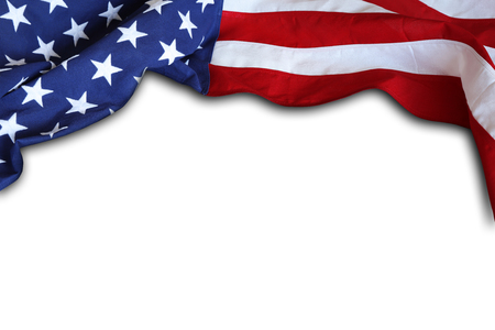 Closeup of American flag on white background Imagens