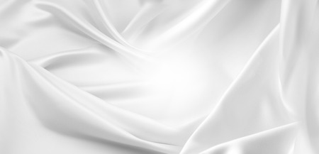Closeup of rippled white silk fabric Imagens