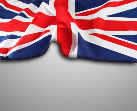 Bandera Union Jack sobre fondo gris