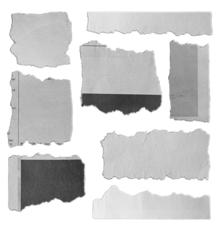 Eight pieces of torn paper on plain background