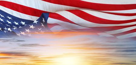 American flag in a bright sky