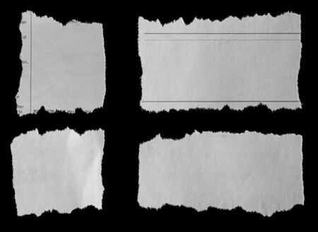 Four pieces of torn newspaper on black background