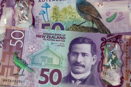 Close-up of New Zealand fifty dollar banknotes