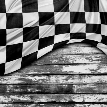 Racing flag and wooden boards