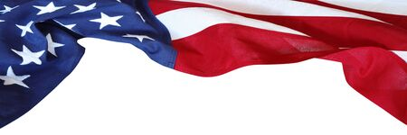 Closeup of American flag on white background 免版税图像