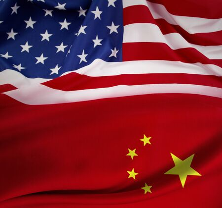 American and China flags blended together