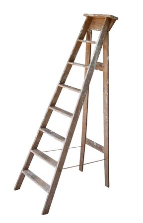 Old wooden ladder, with paint marks on it,  isolated on white background