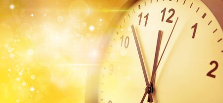 Clock face and abstract golden background. New Year. Christmas 写真素材 - 131507191