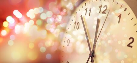 Clock face and abstract background. New Year. Christmas time