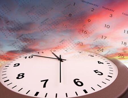 Clock and calendars in bright sky. Time passing