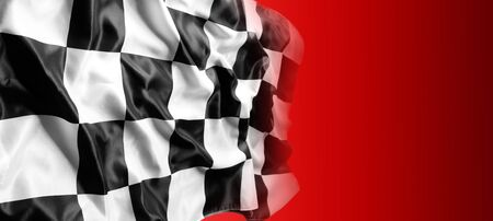 Checkered black and white flag on red background Imagens