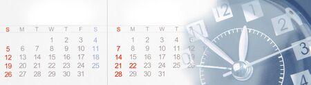 Zifferblatt und Kalender zusammengesetzt Standard-Bild