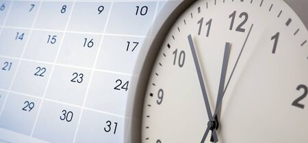 Clock face and calendar composite 스톡 콘텐츠