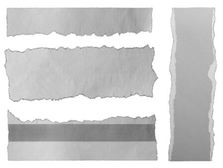 Four pieces of torn paper on plain background Banque d'images - 135431632