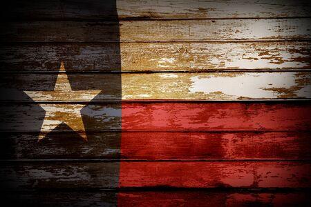 Primo piano della bandiera del Texas sulle tavole