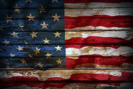 Primer plano de la bandera americana en tableros
