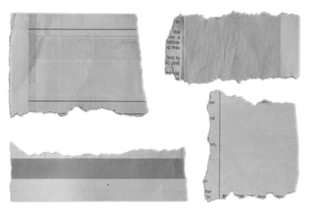 Four pieces of torn paper on plain background