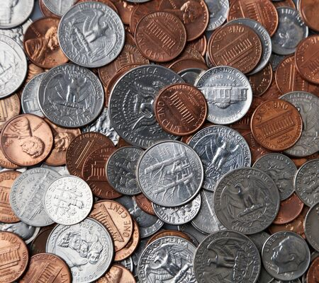 Close-up of assorted American coins