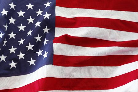Closeup of rippled American flag Stockfoto