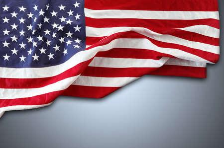 American flag on grey background