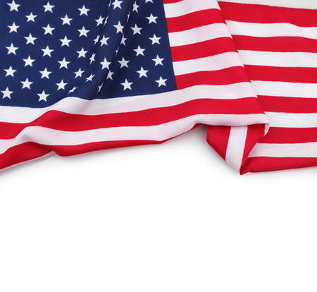 Closeup of American flag on white background