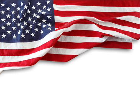 Closeup of American flag on white background Stock fotó