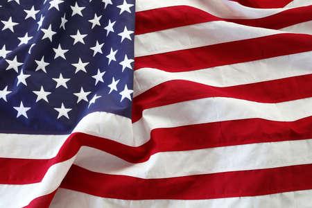 Close-up of rippled American flag Foto de archivo